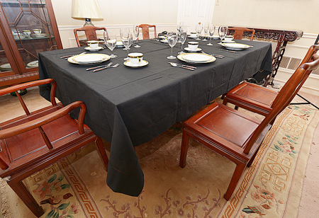 Festive Tablecloth. Pure Black color. Size:70x120""
