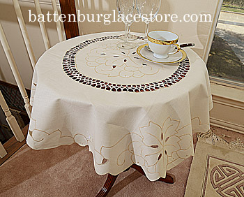 Tablecloth Round 34 in.Topper. Imperial Extra. Pearl Ivory color