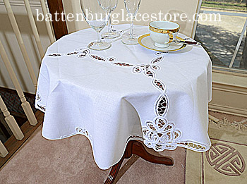 Tablecloth Round Topper 34 inches. Battenburg Lace Nicole. White