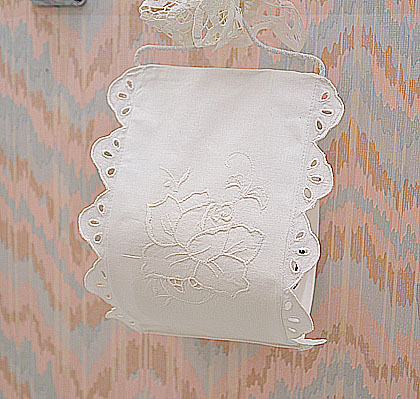 Vintage Embroidery Toilet Roll Holder.