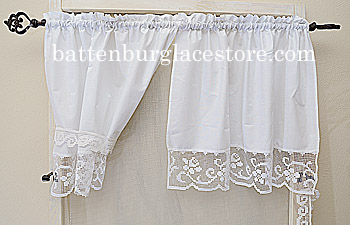 Windows Panel. Tuscany Lace 30in x 24in drop. (pair)