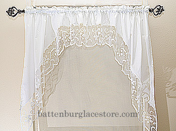 Lace windows curtains. Window Swag 35x38 (pair)