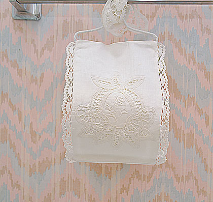 Vintage Battenburg Toilet Roll Holder.