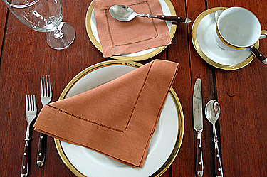 Dinner Napkin.2in Hemstitched border.Whole color Raw Sienna.Each