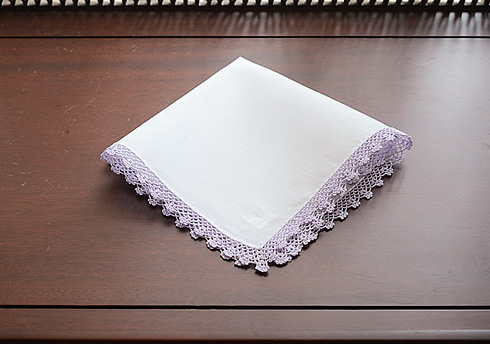 Cotton handkerchief. Lavender Fog colored Lace Trimmed.