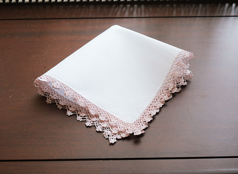 Cotton handkerchief. Mary's Rose colored lace trimmed.