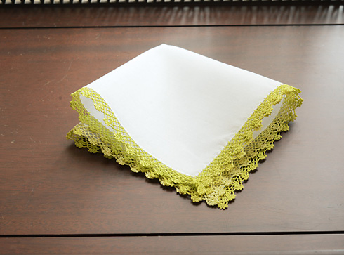 Cotton handkerchief. Wild Lime colored lace trimmed.
