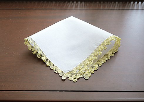 Cotton handkerchief. Yellow Pear colored Lace Trimmed.
