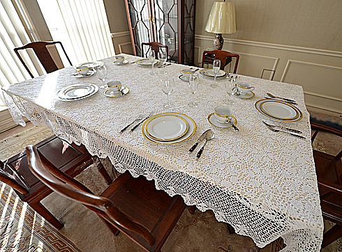 Crochet Tablecloth 72x126in. Sun Flowers Designs. White
