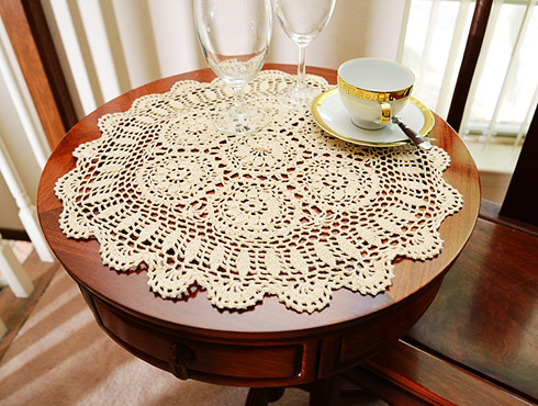 "18"" Crochet Round Placemat. Wheat color ( 2 pieces pack)"