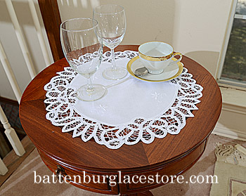 "Round Doily. Battenburg Lace. 16"" Round. White. (2 pieces set)"