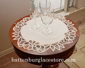 "18"" Round Battenburg Table Toppers. Mother of Pearl color. 2pcs."