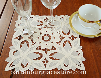 Doilies Organza Square.10 in.Christina Butteflies.(6 pcs.set)