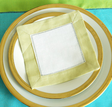 Festive colored trimmed cocktail napkin. Lime Green