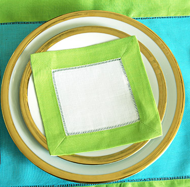 Festive colored trimmed cocktail napkin. Lime Punch