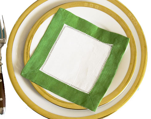 Festive colored trimmed cocktail napkin. Kelly Green