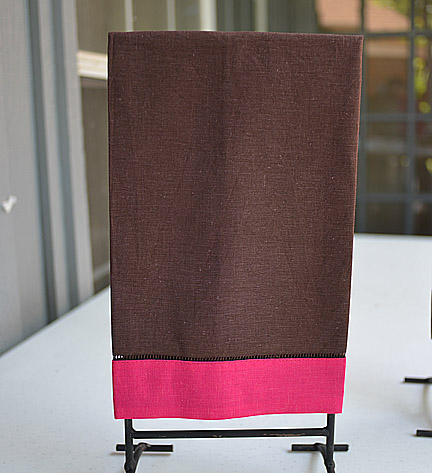 Hand Towel Festive Multi Colored Brown & Pink Peacock