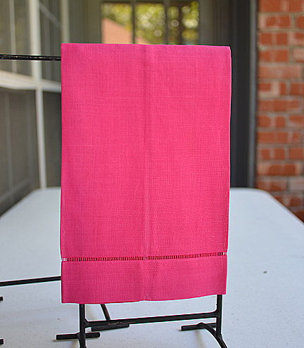 Pink Peacock colored hand towel