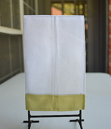 Guest Towel. White with Lime Green color border