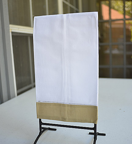 Guest Towel. White with Taupe color border