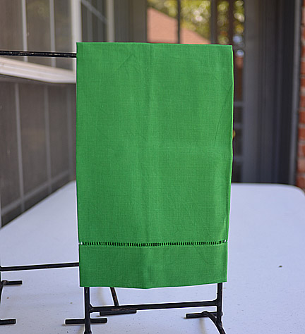 Kelly Green colored hand towel