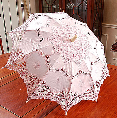 Lace Parasol - Battenburg Lace. Pink