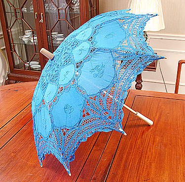 Lace Parasol. Battenburg Lace. French Blue color