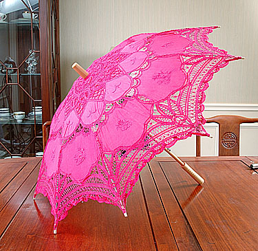 Lace parssol. Battenburg Lace.Hot Pink