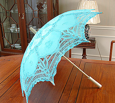 Lace Parasol. Battenburg Lace. Aqua color