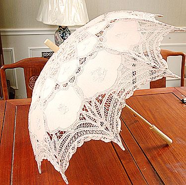 Lace parasol. Battenburg Lace. Taupe
