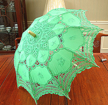 Lace parasol. Battenburg Lace. Green
