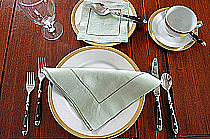 Dinner Napkin.2in.Hemstitched border. Mellow Green. Each.