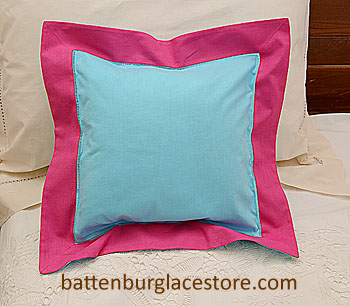 "Pillow Sham. AQUA BLUE with RASPBERRY SORBET 12""SQ."