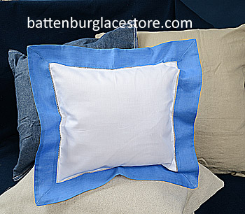 Square Pillow Sham. White with French Blue color border 12 SQ