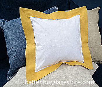 Square Pillow Sham. White with Honey Gold color border.12 SQ.
