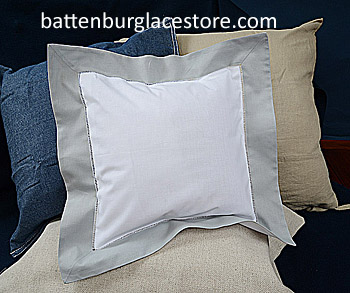"Square Pillow Sham. White with ""High Rise"" gray border. 12 SQ."