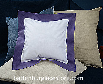 Square Pillow Sham. White with Imperial Purple color border 12SQ