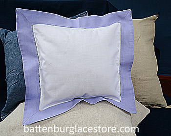 Square Pillow Sham. White with Sweet Lavender color border.12 SQ