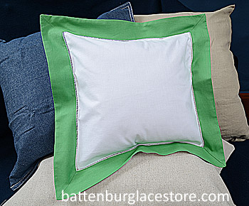 Square Pillow Sham. White with Mint Green color border. 12 SQ.