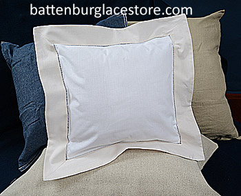 Square Pillow Sham. White with SHELL color border.12 SQ.