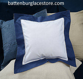 "Square pillow sham. White with ""TRUE NAVY"" color border. 12 SQ."