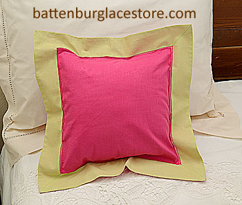 "Pillow sham. RASPBERRY SORBET with HEMP (LIGHT GOLD) color. 12""."