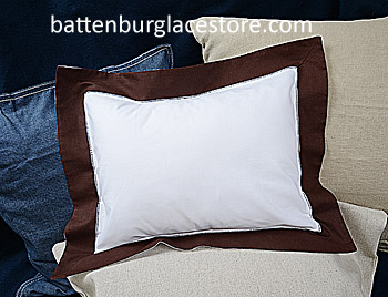 "Baby Pillow Sham. White with French Roast border.12""x16""pillow"