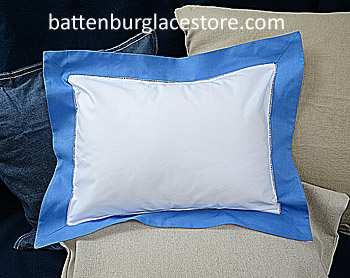 "Baby Pillow Sham. White with French Blue border.12""x16"" pillow"