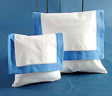 Envelope Pillow. White with French Blue. Small size 8 inches