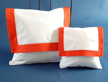 Envelope Pillow. White with Bright Orange. Large 12 inches