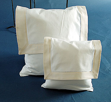 Envelope Pillow. White with Ivory. Large 12 inches