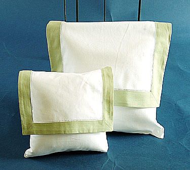 Envelope Pillow. White with Lime Green. Large 12 inches