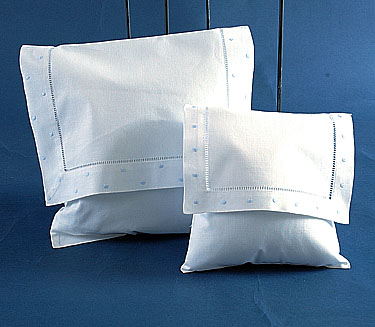 Envelope Pillow. White with Blue Polka dot. Large 12 in