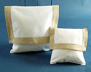 Envelope Pillow. White with Taupe border. Large 12 inches